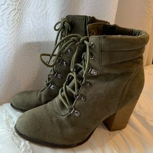 Olive Green Lace Up Booties